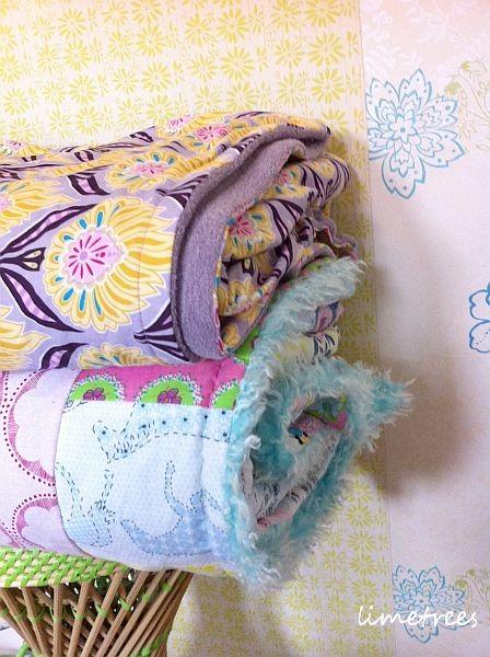 patchworkdecken mit stoffen von rice und hamburger liebe