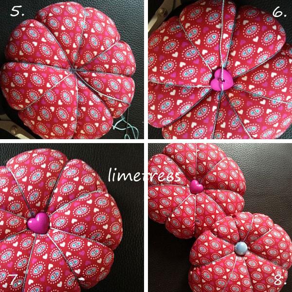 Kissen Mit Knopf In Der Mitte kostenlose nähanleitung für ein blumennadelkissen