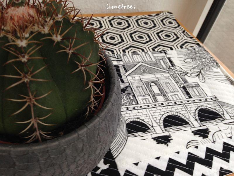 patchwork in schwarz-weiß