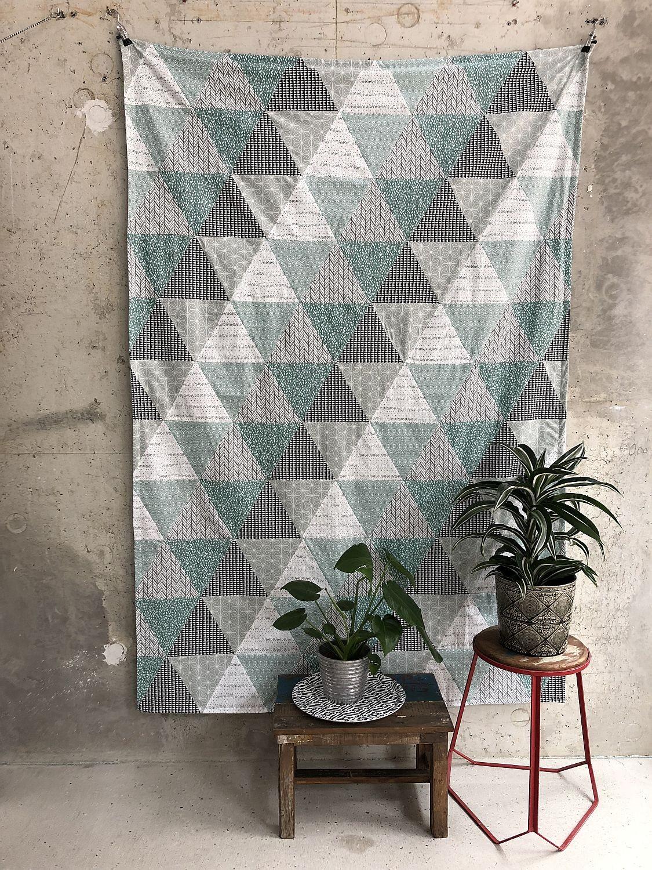 patchworkdecke aus dreiecken