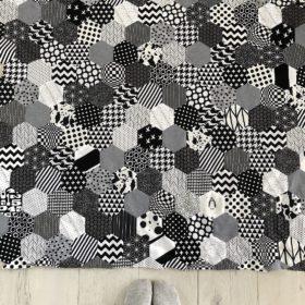 patchworkdecke schwarz-weiß