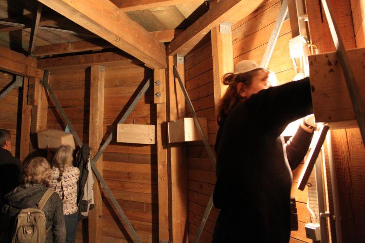 In der Turmspitze sind die Nistkästen installiert