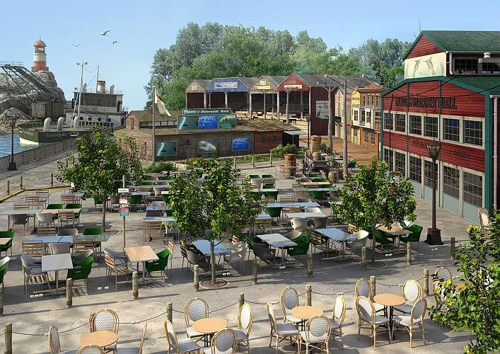 Hafenzeile mit Marktplatz (Visualisierung VirtualPix GmbH)