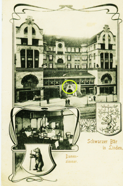 Postkarte von 1903 (Nachlass Ilse Popp) - Der gelbe Kreis markiert die Nische zwischen den beiden Treppen.