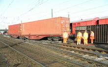Entgleiste Wagen im Güterbahnhof Linden (Quelle: Bundespolizei)