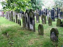 Grabsteine auf dem jüdischen Friedhof an der Strangriede - Titelbild der Ausstellung von Dr. Peter Schulze