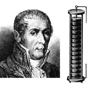 Alessandro Volta, Erfinder der ersten Batterie, der Volta-Säule, Museum für Energiegeschichte