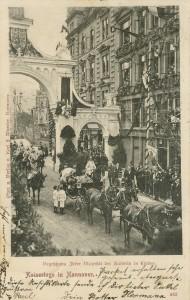 """Begrüßung Seiner Majestät des Kaisers in Linden während der """"Kaisertage in Hannover"""" 1898"""