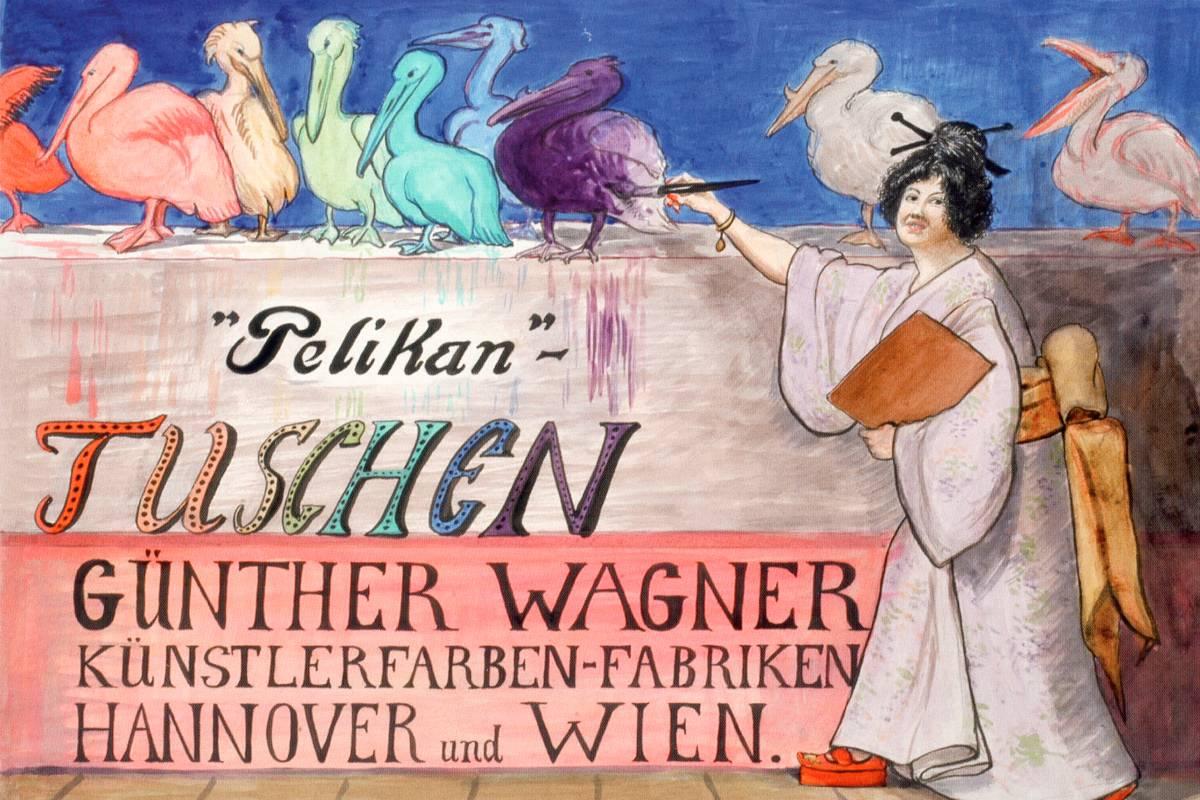 1909_anonymer_Künstler,_Plakatentwurf_Pelikan-Tuschen_Günther_Wagner_Künstlerfarben-Fabriken_Hannover_und_Wien,_Japanerin
