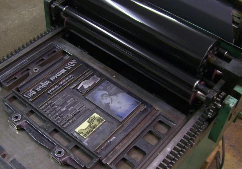 Druckerpresse im Buchdruckmuseum
