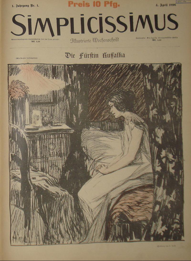 Titelblatt des ersten Heftes des ersten Jahrgangs der Zeitschrift Simplicissimus ( Kuwimuc, Simplicissimus First Edition Title, CC BY-SA 3.0)