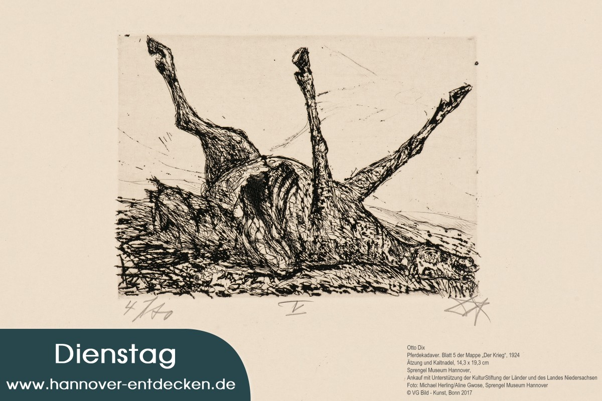 """Otto Dix - Pferdekadaver. Blatt 5 der Mappe """"Der Krieg"""", 1924"""
