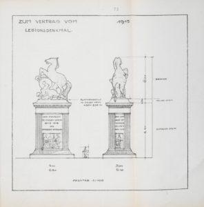 Entwurfszeichnung für den Standort des Denkmals am Königsworther Platz. Vorschlag Professor Dr. German Bestelmeyer vom 5.6.1914. (Stadtarchiv Hannover HR 13 Nr. 674, fol. 5r)