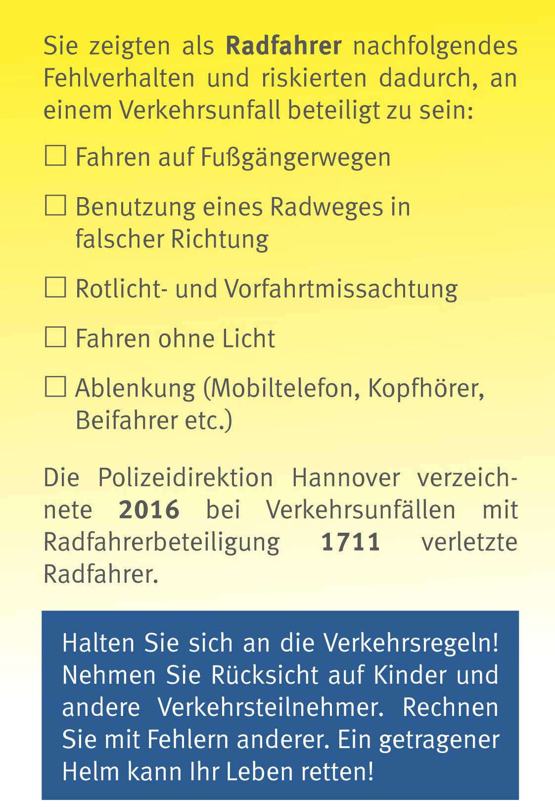 Gelbe Karte für Fahrradfahrer