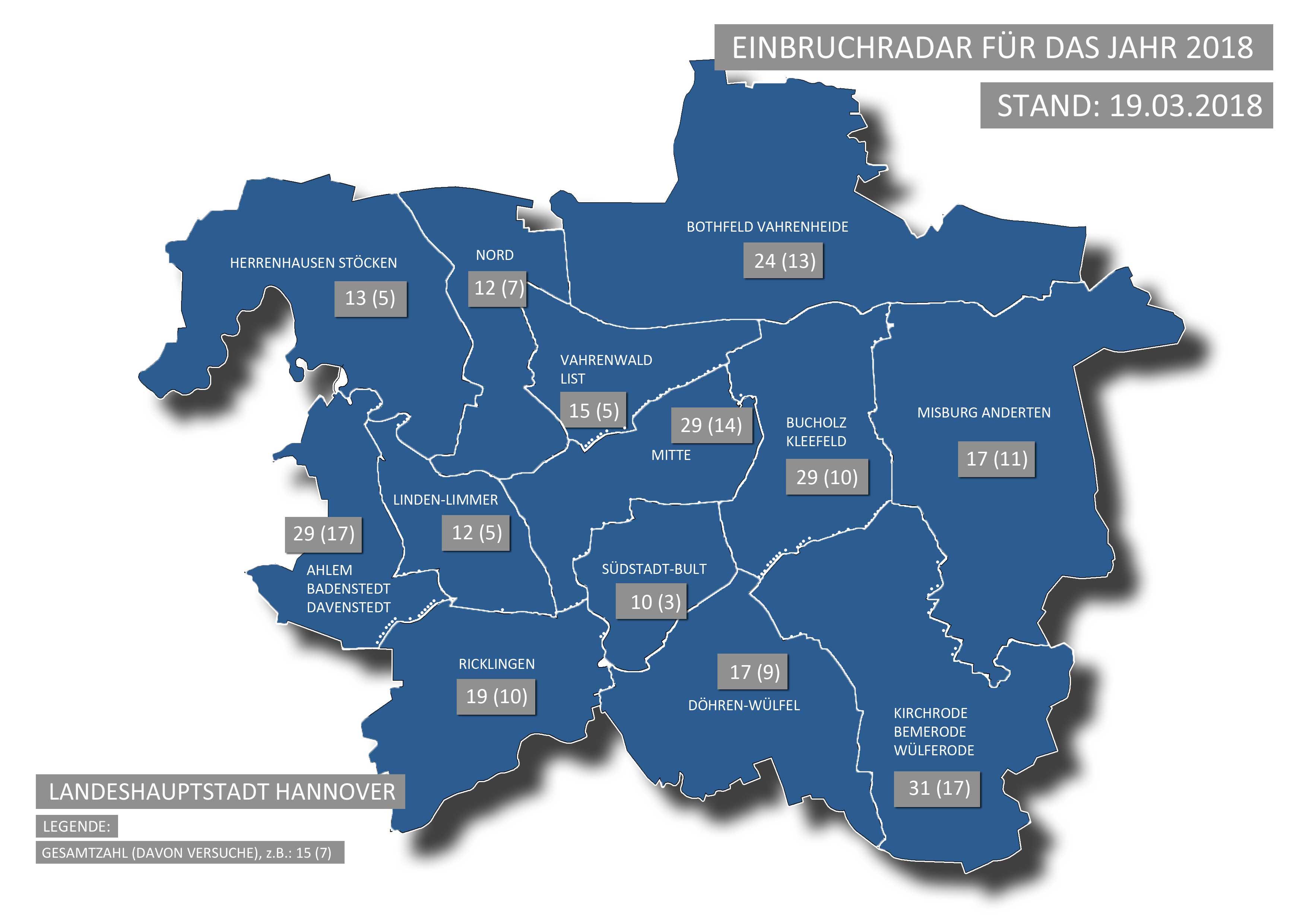 Einbruchradar der Polizeidirektion (PD) Hannover