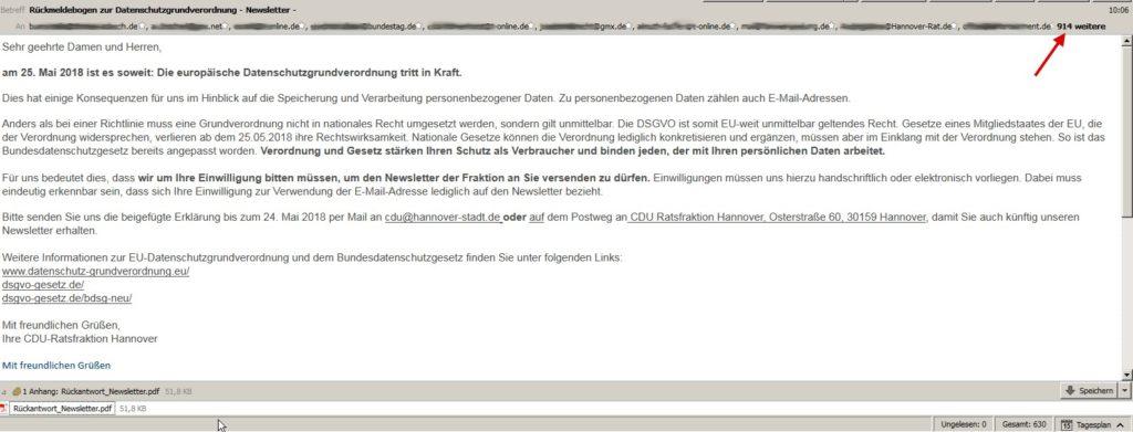 CDU Rückmeldebogen zur Datenschutzgrundverordnung