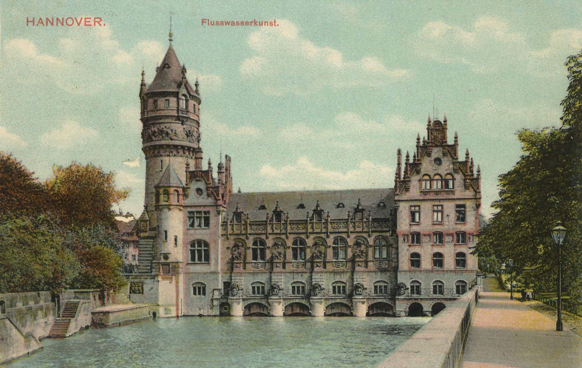 Flusswasserkunst Hannover (Historische Postkarte um 1900)