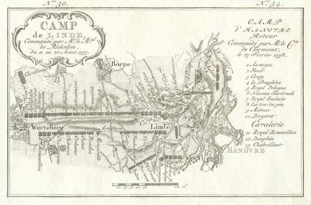 Karte von Linden mit Bornum aus dem Siebenjährigen Krieg 1757 und 1758