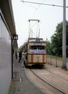 Straßenbahn am Endpunkt Messegelände am 26. Juni 1981