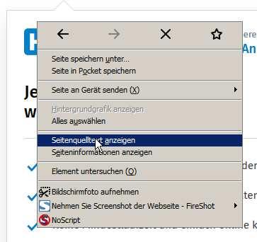 Quelltext ansehen in Firefox