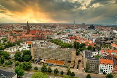 Blick vom Neuen Rathaus auf die City