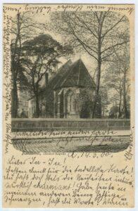 Rückseite der noch unzerstörten Kapelle von der Nikolaistraße aus (heute: Goseriede)