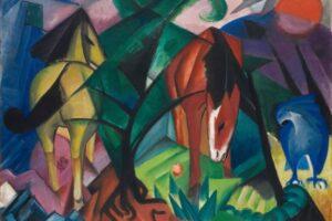 Franz Marc, Pferde und Adler, 1912, Öl auf Leinwand, 100 x 135,5 cm. Sprengel Museum Hannover, Leihgabe Niedersächsisches Landesmuseum, Hannover